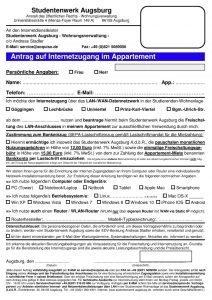 Antrag Internet Wohnanlage Augsburg