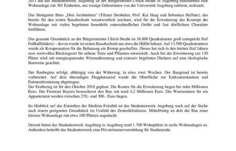 Mehr Wohnraum für Studierende in Augsburg